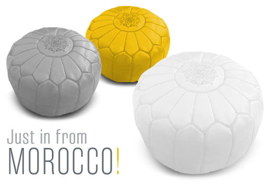 Moroccan pouffes, ottoman, genuine leather, vancouver